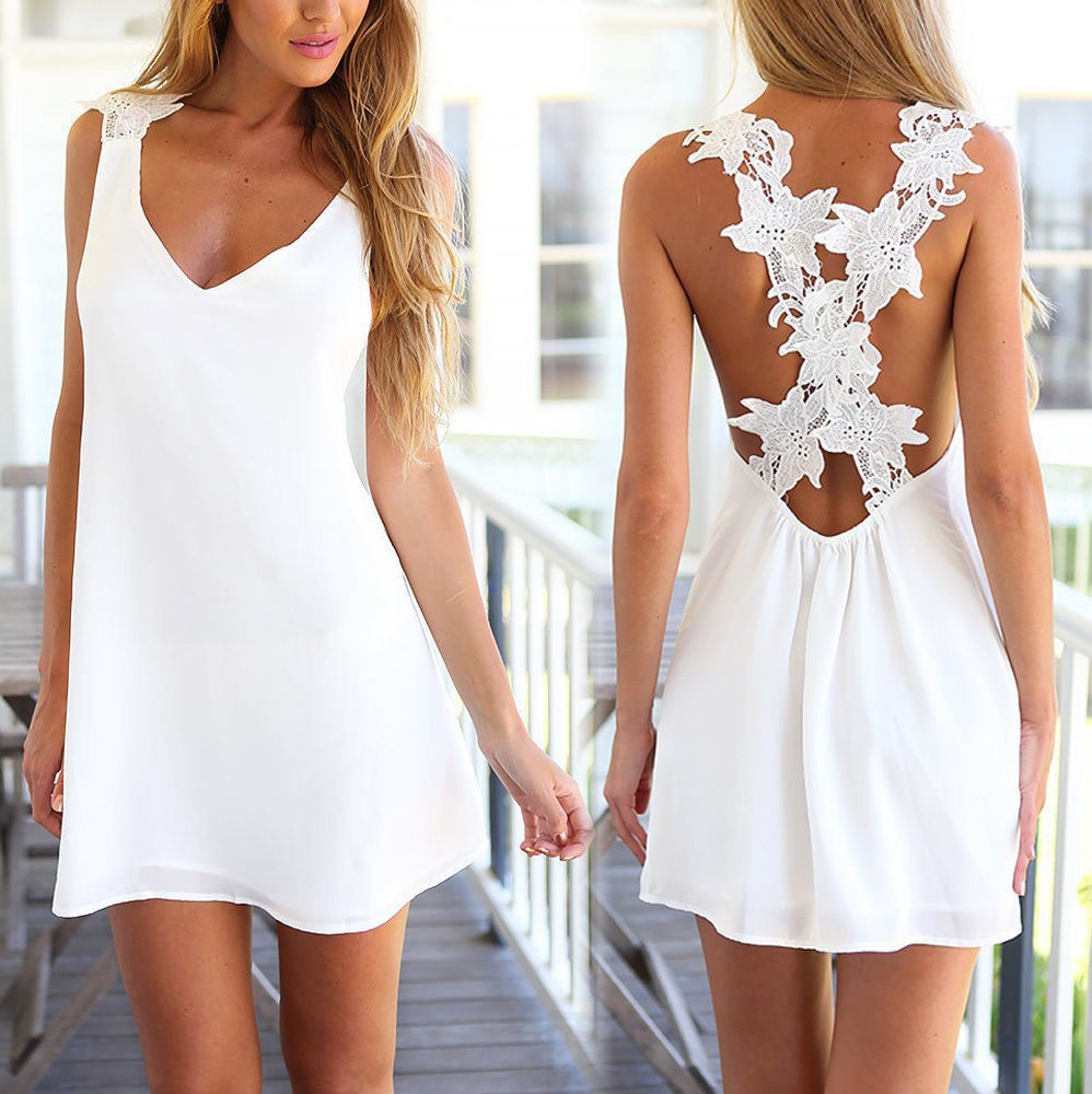 A-line-Sleeveless-Open-Back-Sexy-Mini-White-Color-Chiffon-Floral-Fashion-Women-font-b-Dresses
