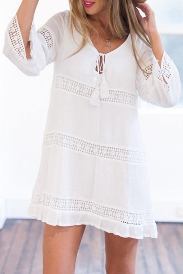 elegant-white-crochet-paneled-mini-shift-dress