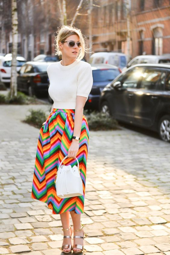 white-top-and-rainbow-striped-skirt