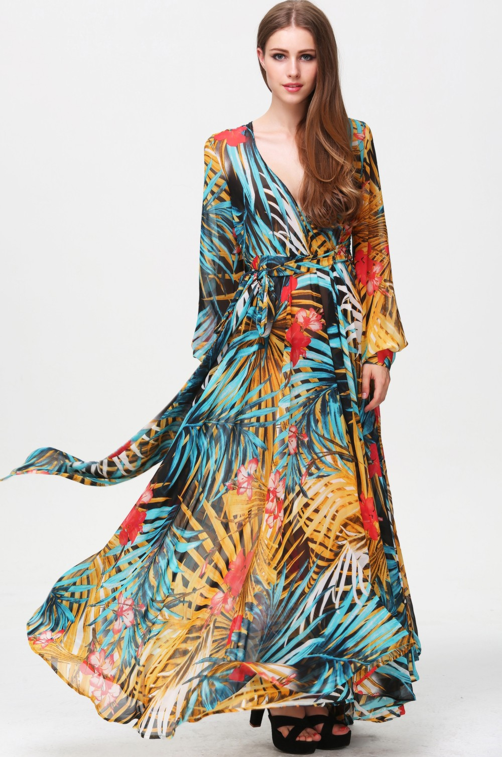 multicolor_v_neck_long_sleeve_floral_maxi_dress675